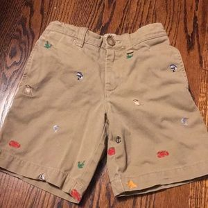 Crew Cuts Boys Size 4 Embroidered Khaki Shorts
